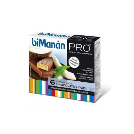 Bimanan Pro Barritas chocolate y coco 6 unidades