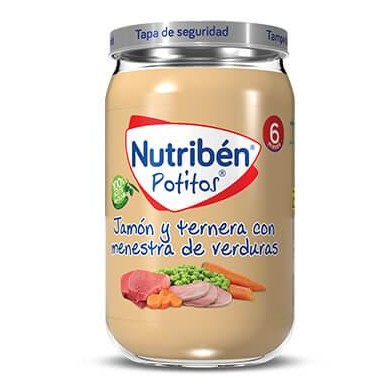 Potitos Nutribén Jamón y Ternera con Menestra de Verduras 235gr