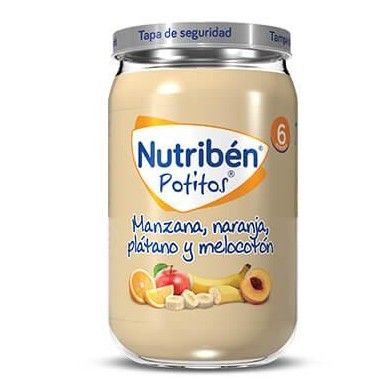 Potito Nutribén Manzana, Naranja, Plátano y Melocotón  235gr