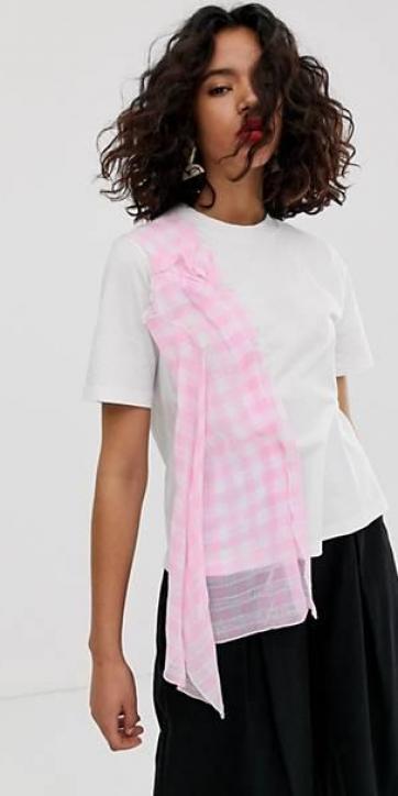 Camiseta cuadros rosa