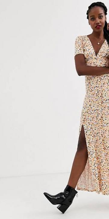 Vestido de tarde largo con botones, aberturas y estampado de florecitas [0]