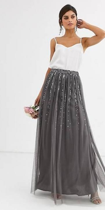 Falda de tul con lentejuelas gris