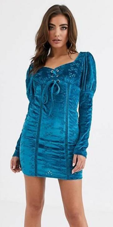 Vestido corto azul de terciopelo