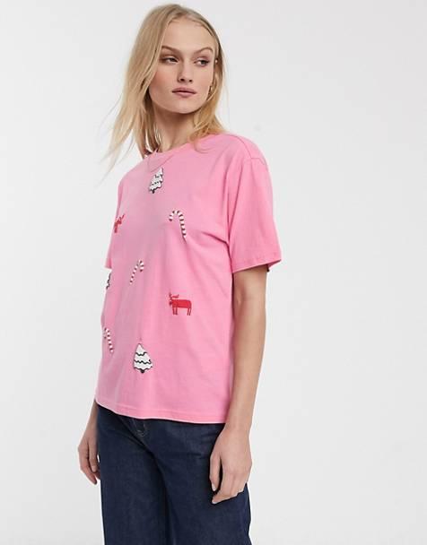 Camiseta navideña rosa