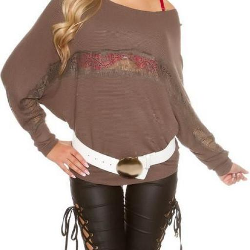 Suéter fashion con encaje capuchino [1]