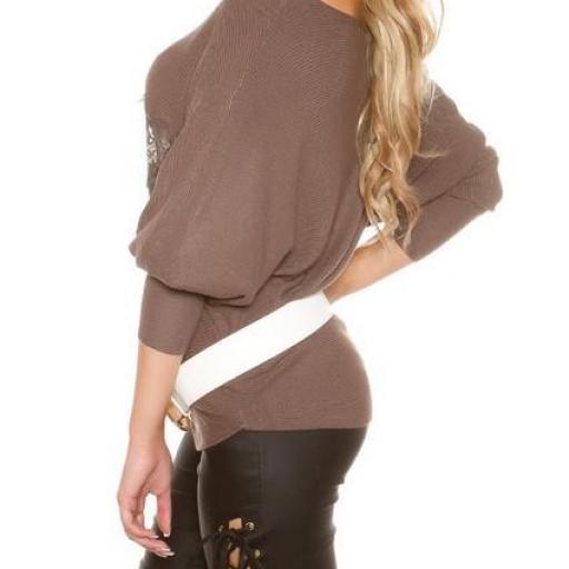 Suéter fashion con encaje capuchino [2]