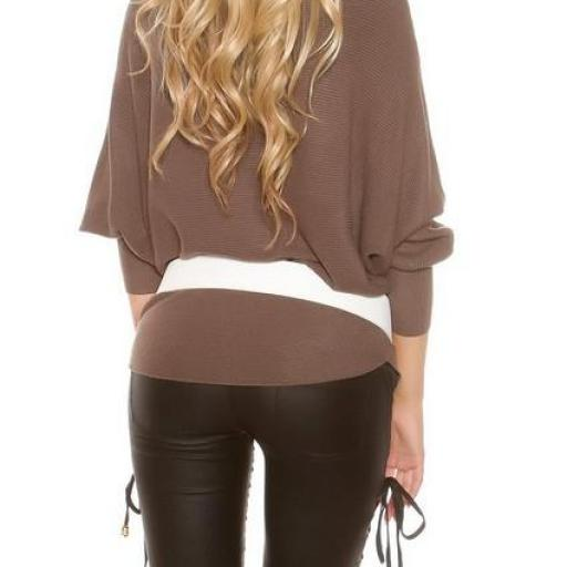 Suéter fashion con encaje capuchino [3]