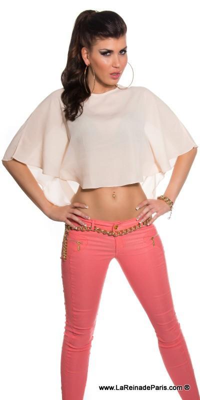 Camisa corta sensual diseño con capa