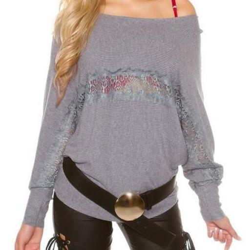 Práctico suéter con encaje transparente [1]