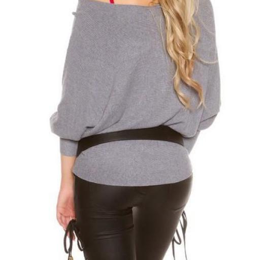 Práctico suéter con encaje transparente [3]