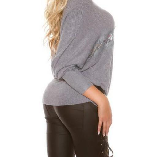 Práctico suéter con encaje transparente [2]