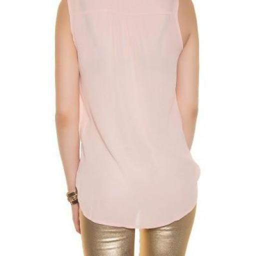 Blusa de la gasa con cadenas en rosa [1]