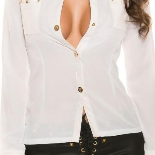 Camisa blanca moderna con botones oro [2]