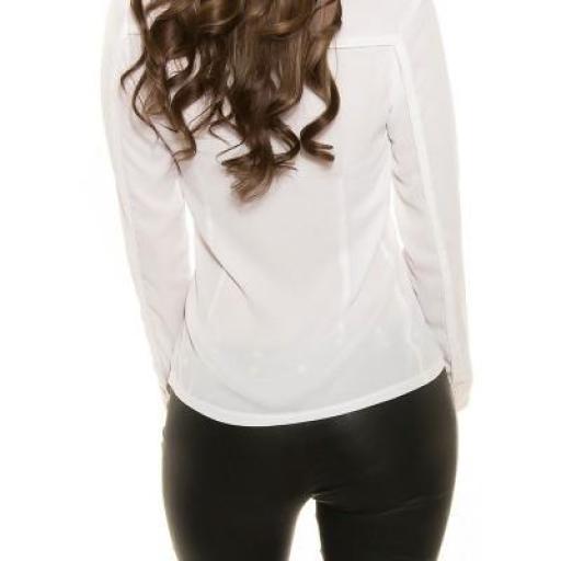 Camisa blanca moderna con botones oro [3]