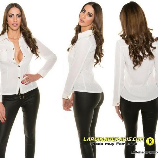Camisa blanca moderna con botones oro