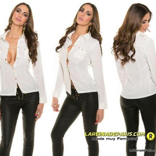 Camisa blanca moderna con botones oro [1]