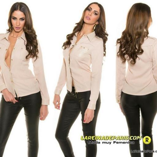 Camisa moderna y atractiva botones oro