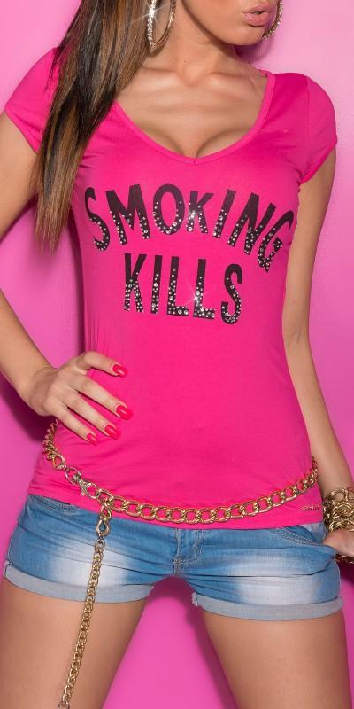 Camiseta mujer lema fumar mata