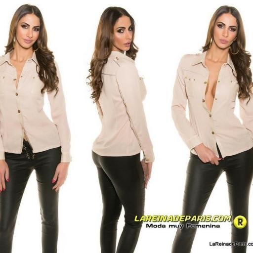 Camisa moderna y atractiva botones oro [1]