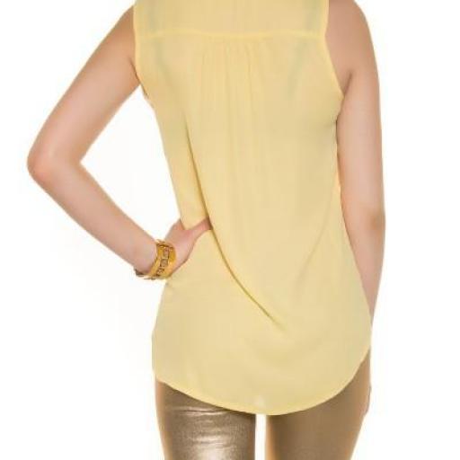 Blusa de gasa sin mangas amarilla [2]