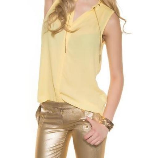 Blusa de gasa sin mangas amarilla [3]