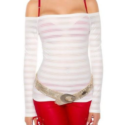 Jersey manga larga hombro al aire blanco [3]