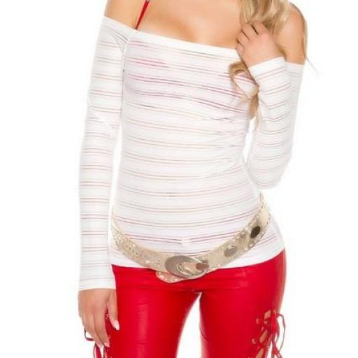 Jersey manga larga hombro al aire blanco [2]