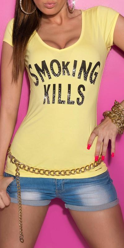 Camiseta mujer amarilla con mensaje