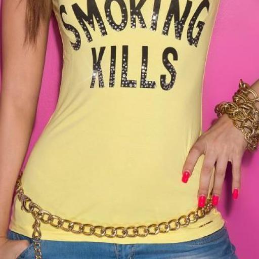 Camiseta mujer amarilla con mensaje [0]