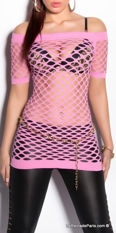 Camiseta femenina cool de red rosa