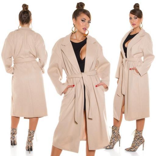 Abrigo largo de moda beige
