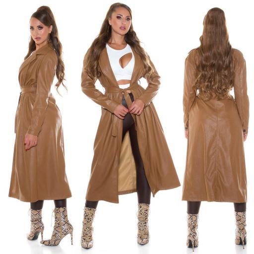 Abrigo largo piel sintética marrón