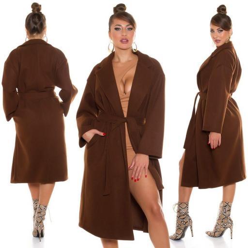 Abrigo largo de moda marrón