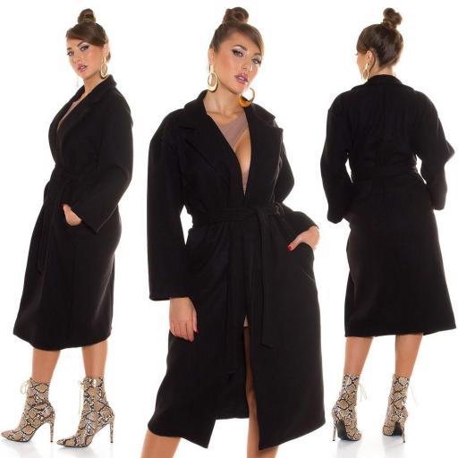 Abrigo largo de moda negro