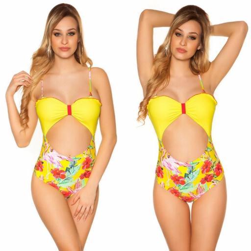 Bañador estampado de flamenco amarillo [3]