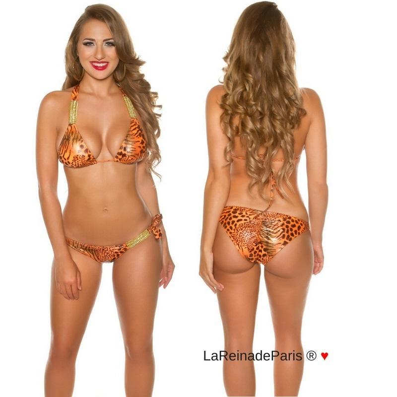 Bikini de leopardo y cadenas brillantes