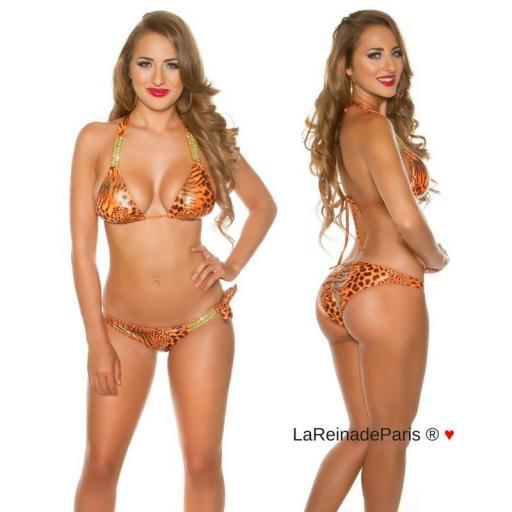 Bikini de leopardo y cadenas brillantes [1]