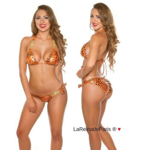 Bikini de leopardo y cadenas brillantes [2]