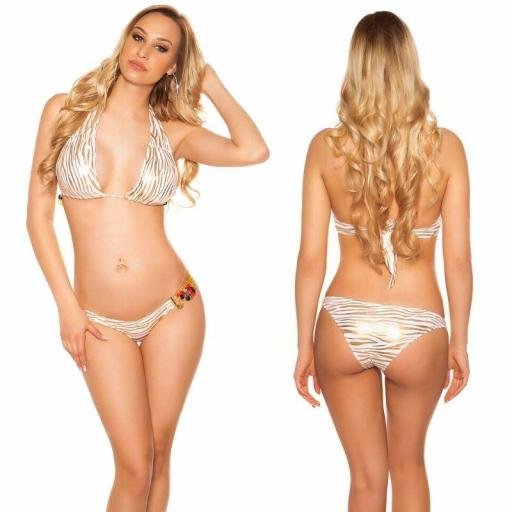 Bikini de moda con perlas cebra oro [3]