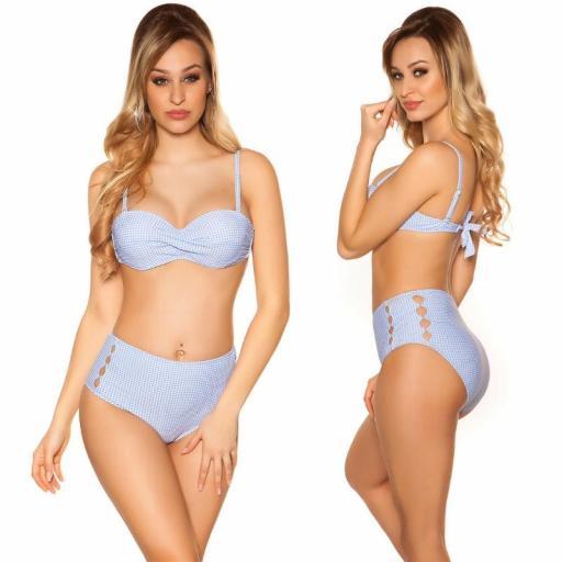 Bikini a cuadros Maragogi azul claro [2]