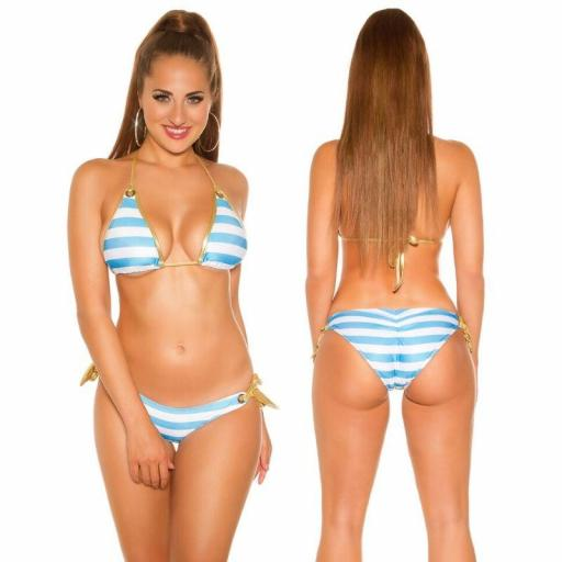 Bikini de moda a rayas turquesa [1]