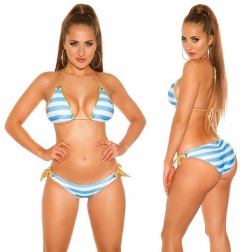 Bikini de moda a rayas turquesa [3]