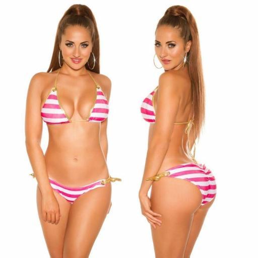 Bikini de moda a rayas fucsia [2]