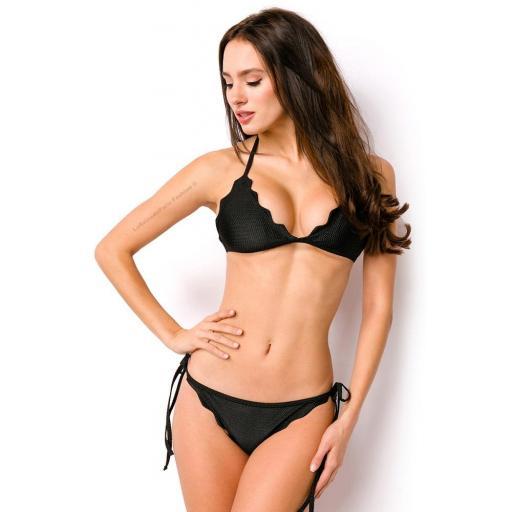 Bikini negro triángulo tejido de piqué