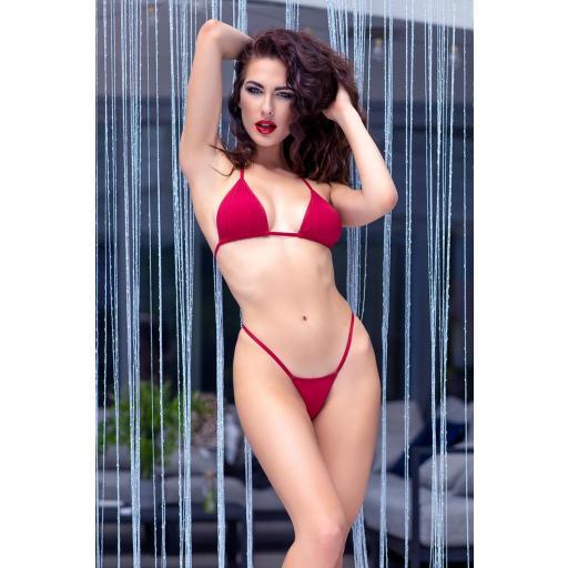 Bikini tanga rojo de tres piezas