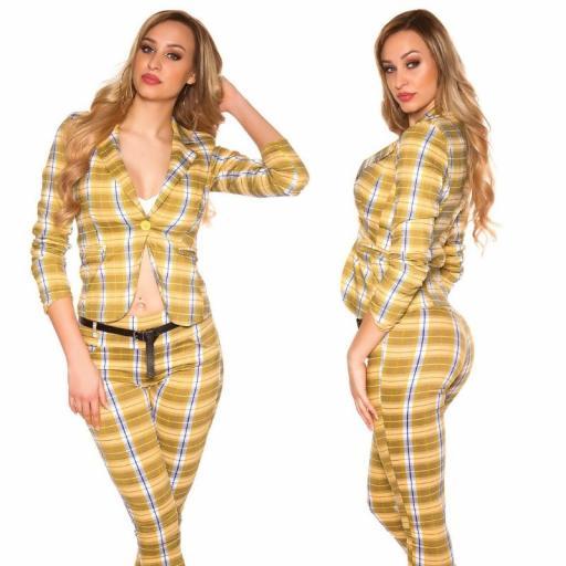 Blazer a cuadros de moda amarillo [1]