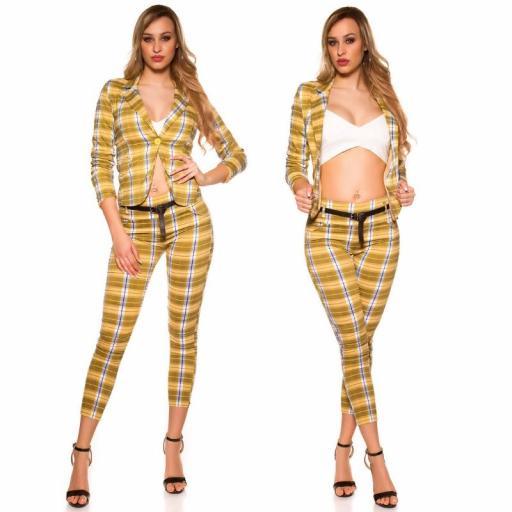 Blazer a cuadros de moda amarillo [2]