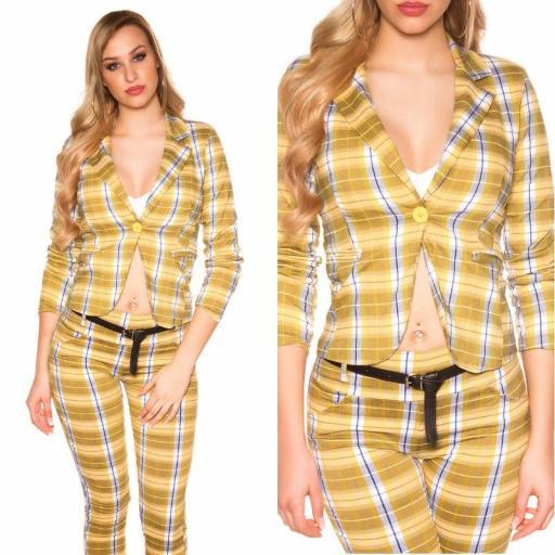 Blazer a cuadros de moda amarillo [3]