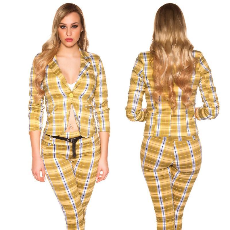 Blazer a cuadros de moda amarillo