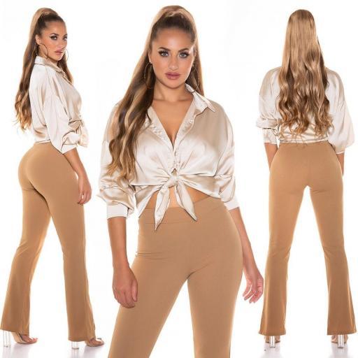 Blusa de moda brillante beige